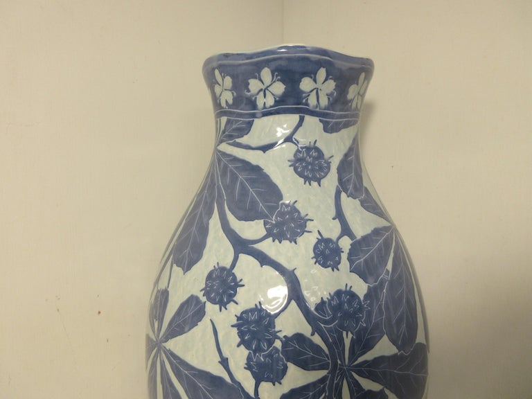 This is a handmade, 1 off Sgraffito vase made by the Swedish ceramic artist Josef Ekberg in 1901. He was one of Sweden's top ceramic artist at the time. He started working at the Gustavsberg foundry in 1898 till his death in 1945. His works are