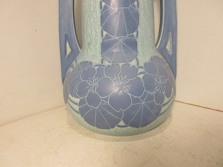 This is a handmade, 1 off Sgraffito vase made by the Swedish ceramic artist Josef Ekberg in 1915. He was one of Sweden's top ceramic artists at the time. He started working at the Gustavsberg foundry in 1898 till his death in 1945. His works are