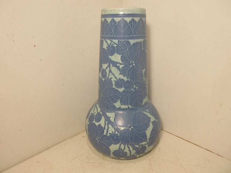 This is a handmade, 1 off Sgraffito vase made by the Swedish ceramic artist Josef Ekberg in 1917. he was one of Sweden's Top Ceramic artist at the time. He started working at the Gustavsberg foundry in 1898 till his death in 1945. His works are
