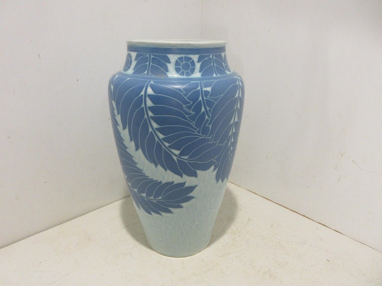 This is a handmade, 1 off Sgraffito vase made by the Swedish ceramic artist Josef Ekberg in 1907. he was one of Sweden's top ceramic artist at the time. He started working at the Gustavsberg foundry in 1898 till his death in 1945. His works are