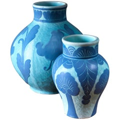 Josef Ekberg Pair of Ceramic 'Sgraffito' Vases for Gustavsberg, Sweden, 1920s
