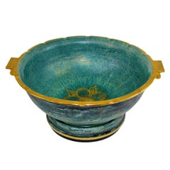 Josef Ekberg Scandinavian Modern Ceramic Footed Bowl, Gustavsberg