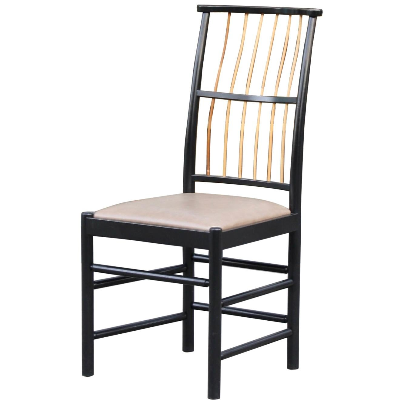 Josef Frank Black Lacquered Birch 2025 Spindle Back Chair Designed in 1925
