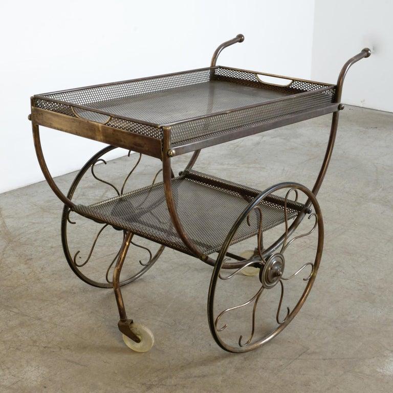 Mid-Century Modern Josef Frank Brass Svenskt Tenn Tea Cart For Sale