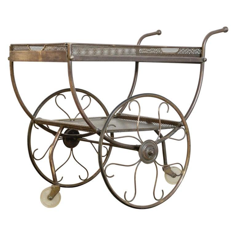 Josef Frank Brass Svenskt Tenn Tea Cart For Sale