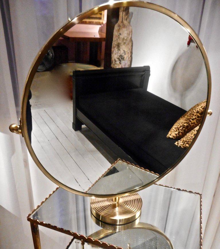 Scandinavian Modern Josef Frank Brass Table Mirror, Stockholm, 1940 For Sale
