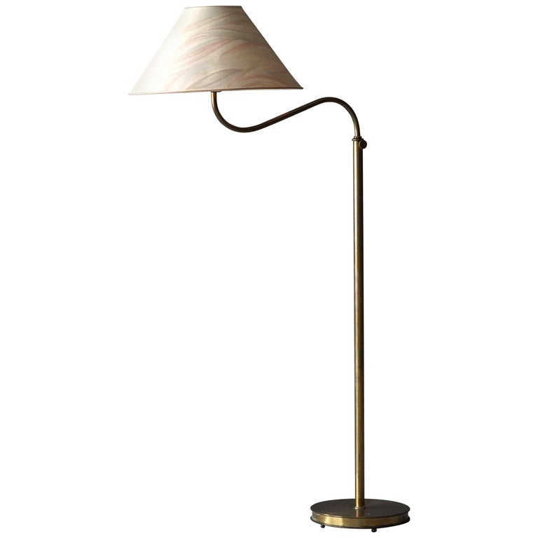 "Josef Frank, Early ""Large Camel"" Floor Lamp, Brass, Fabric, Svenskt Tenn, 1950s For Sale"