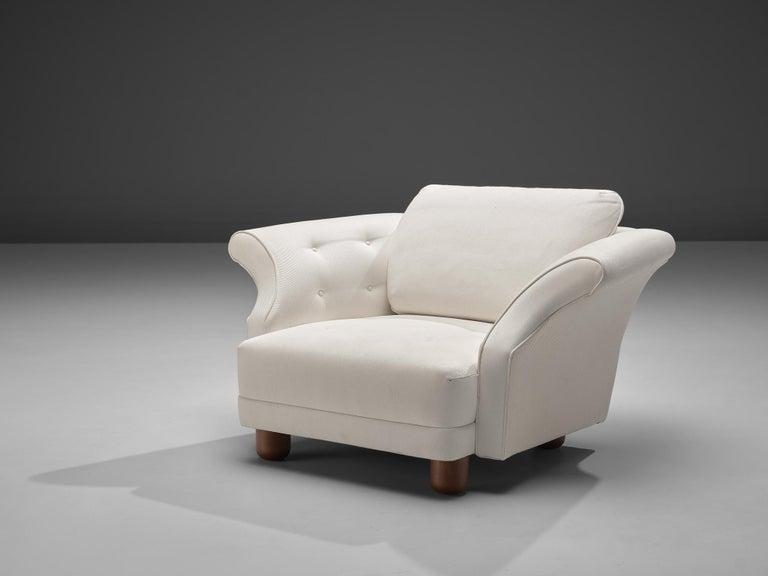 Fabric Josef Frank forSvenskt Tenn Pair of 'Liljevalchs' Lounge Chairs For Sale