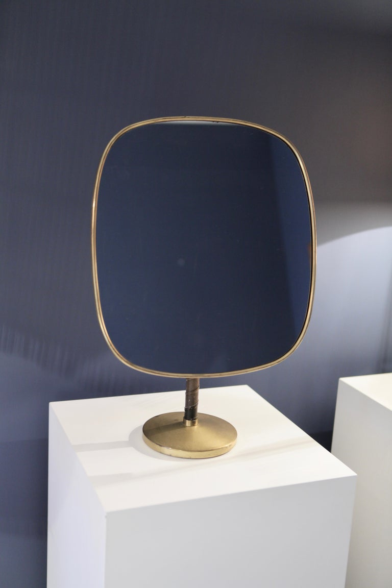 Swedish Josef Frank Large Table Mirror in Brass and Leather For Sale
