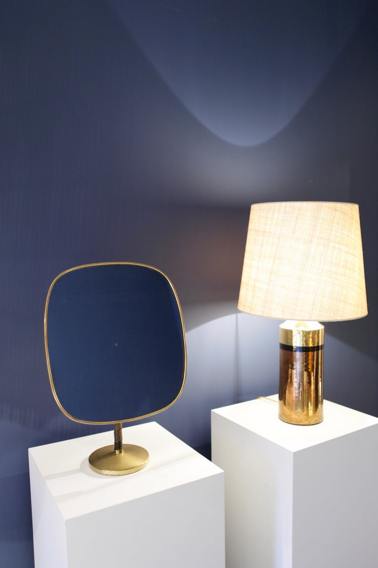 Josef Frank Large Table Mirror in Brass and Leather For Sale 2