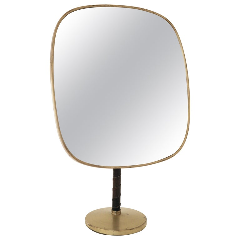 Josef Frank Large Table Mirror in Brass and Leather For Sale