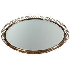 Josef Frank, Swedish Mid-Century Modern Brass Wall Mirror for Svenskt Tenn