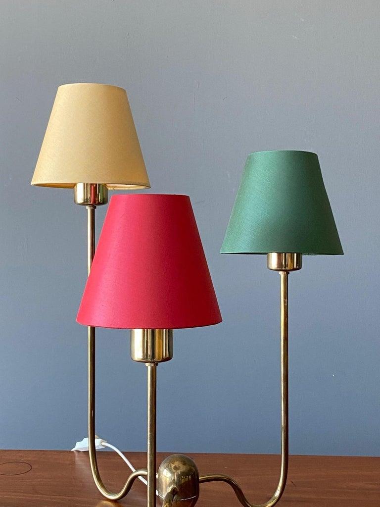 Scandinavian Modern Josef Frank, Table Lamp, Brass, Red, Green, Yellow Screens, Svenskt Tenn, 1960s For Sale