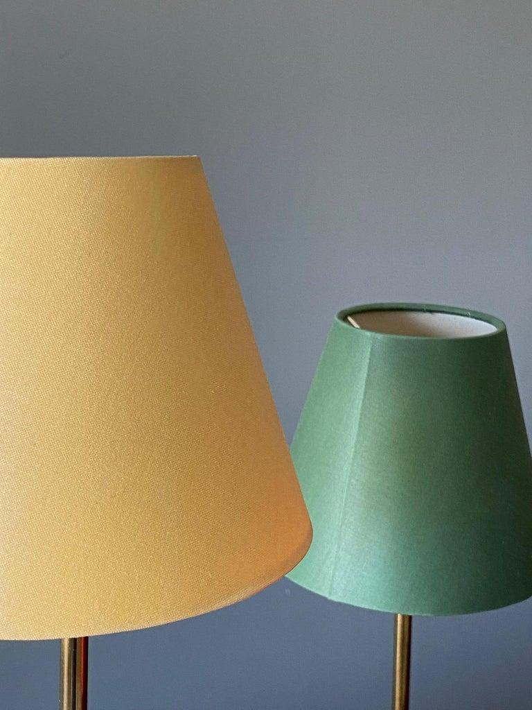 Swedish Josef Frank, Table Lamp, Brass, Red, Green, Yellow Screens, Svenskt Tenn, 1960s For Sale
