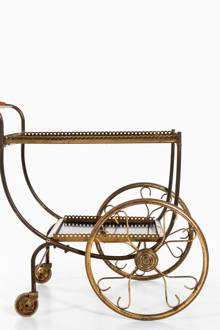 Brass Josef Frank Trolley Produced by Svenskt Tenn in Sweden For Sale