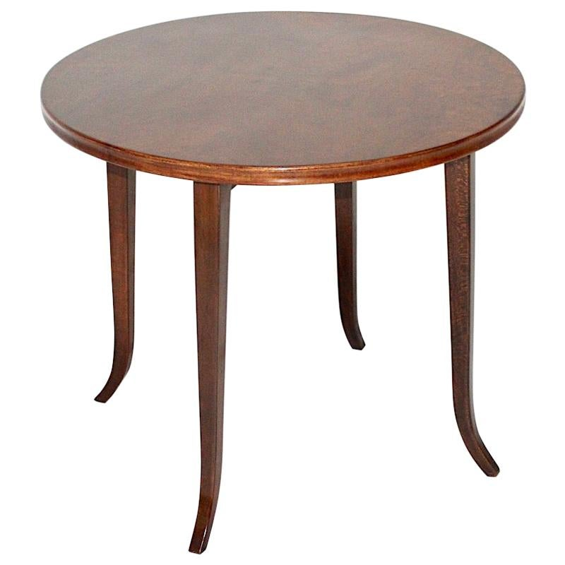 Josef Frank Walnut Vintage Round Coffee Table, Austria, 1930s