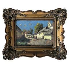 """Josef Harencz """"Hungarian Village"""" Original Oil Painting, circa 1930s"""