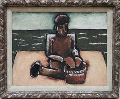 Fisherman with Basket by JOSEF HERMAN OBE RA - Expressionist Fisherman Painting