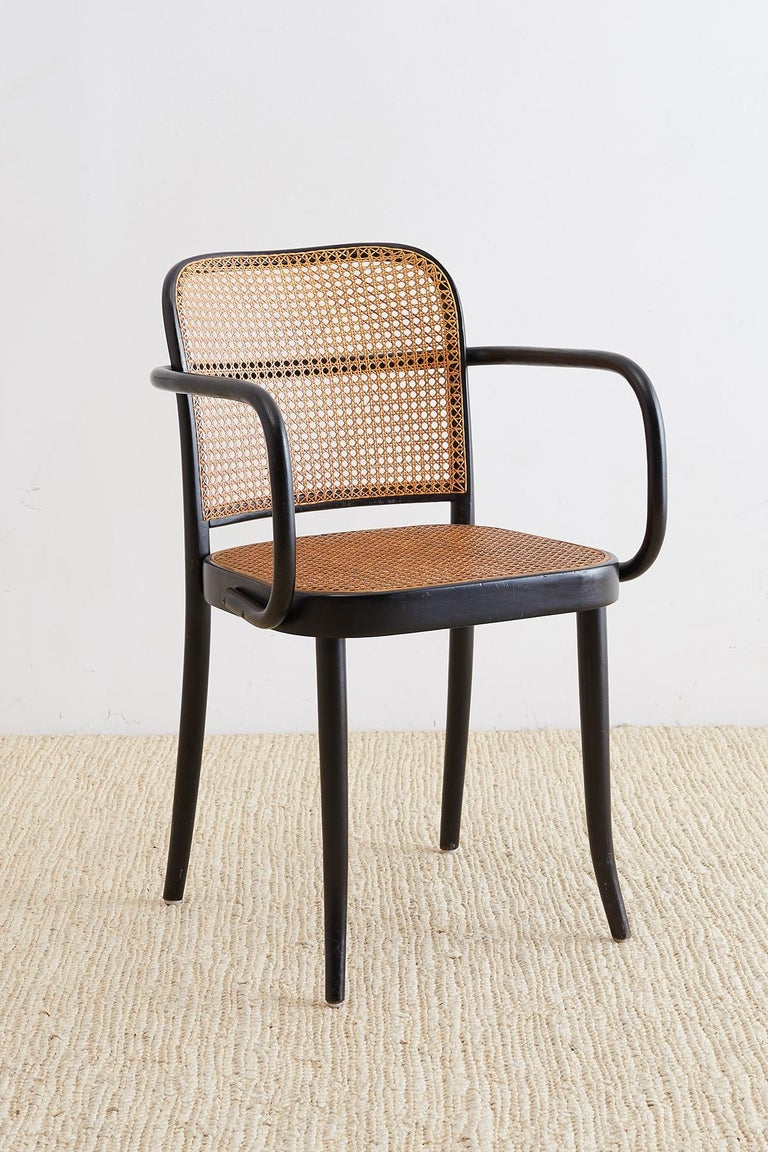 Hand-Crafted Josef Hoffman for Stendig Black Bentwood Prague Chairs For Sale