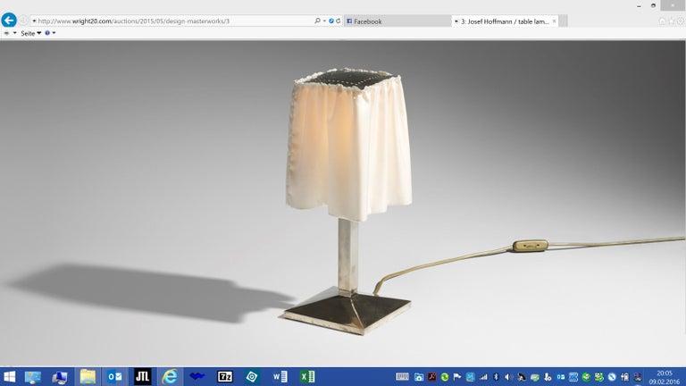 Austrian Josef Hoffmann and Wiener Werkstaette, Silk Shade Table Lamp, Re-Edition For Sale