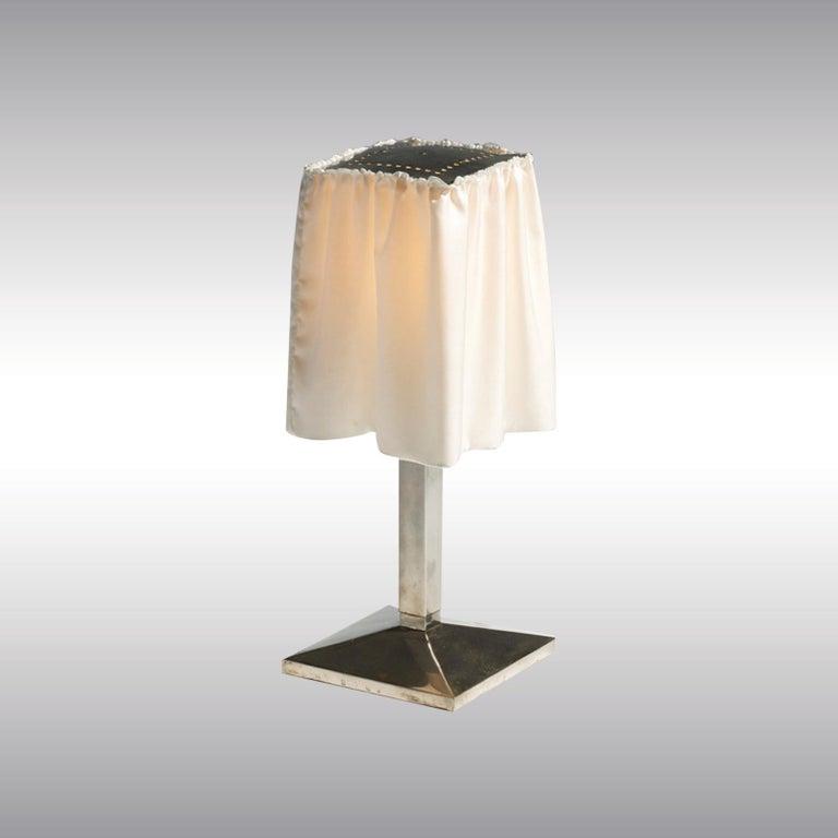 Jugendstil Josef Hoffmann and Wiener Werkstaette, Silk Shade Brass Table Lamp, Re-Edition For Sale
