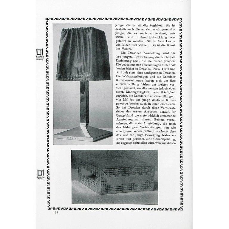 Austrian Josef Hoffmann and Wiener Werkstaette, Silk Shade Brass Table Lamp, Re-Edition For Sale