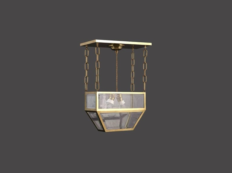 A very elegant pendant with an aura of the cool early designs by Josef Hoffmann. The measures are just the body of the lamp, the drop is custom.