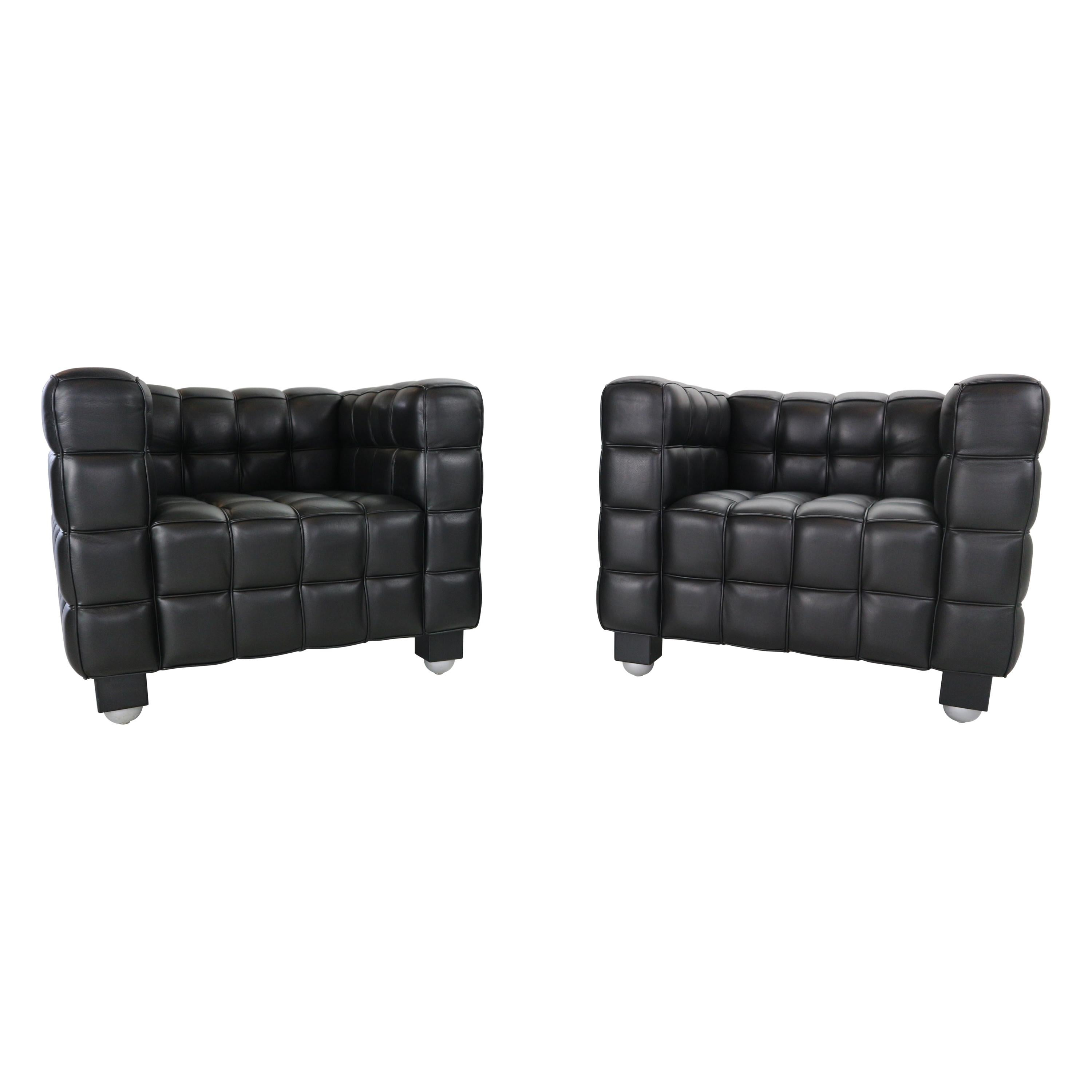 "Josef Hoffmann Black Leather ""Kubus"" Club Chairs for Wittmann"