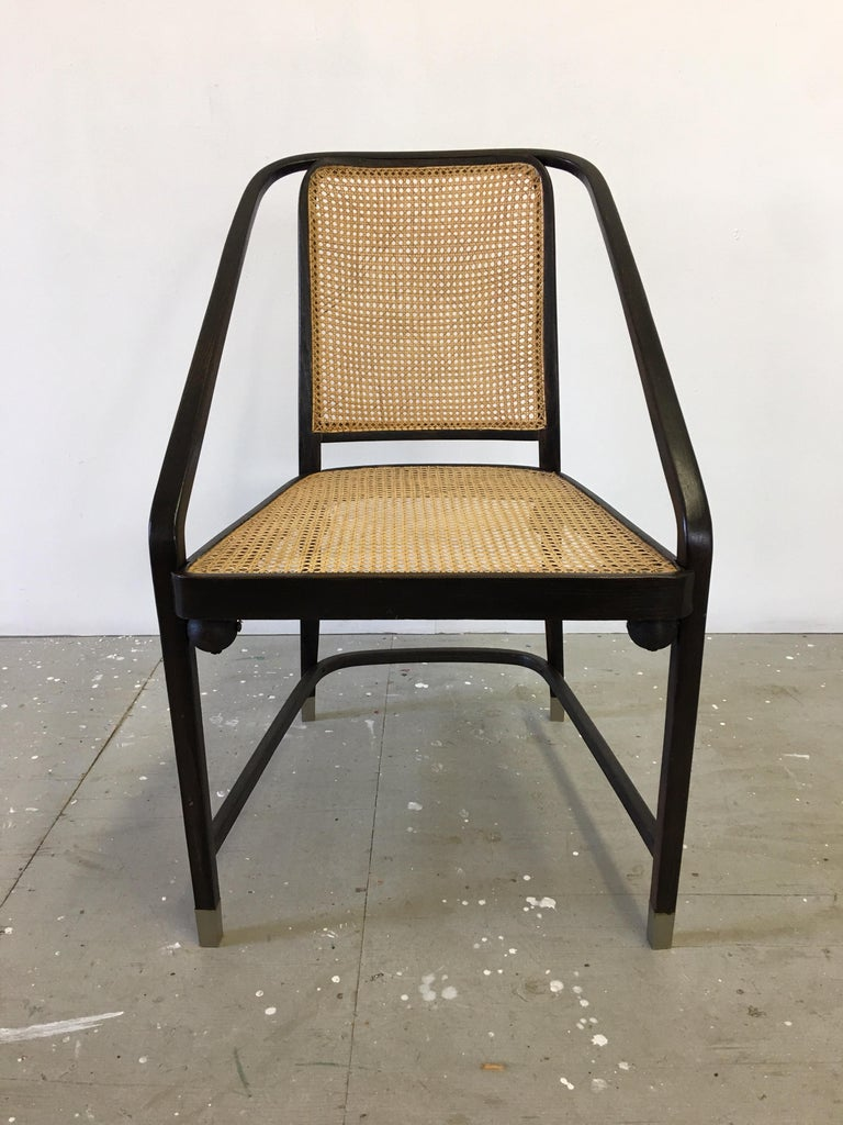 Josef Hoffmann Chair Model 725 circa 1903-1905. Rare variation with caned seat and back. Usually found with upholstered seat and back. Chair is sometimes said to be by Gustav Siegel as well. Bent Beech Frame with wood balls that help support the