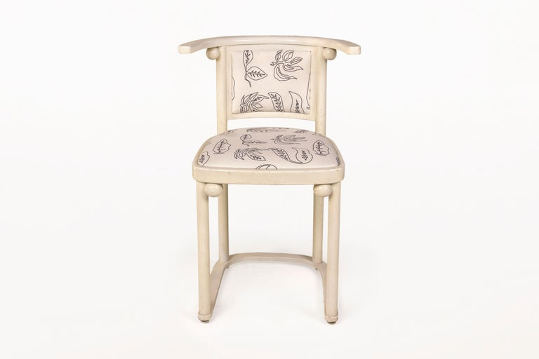 Josef Hoffmann chairs. Set of four Josef Hoffmann chairs for Thonet. White painted bentwood. Rently reupholstered with Serge Castella's