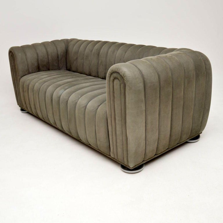 Late 20th Century Josef Hoffmann Club 1910 Sofa in Nubuck Leather by Wittmann For Sale