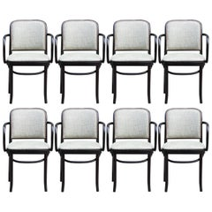Josef Hoffmann Cotton and Brass Set of Eight No. 811 Chairs