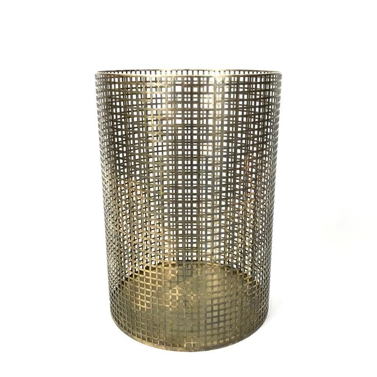 Art Deco Josef Hoffmann Design Perforated Brass Umbrella Stand or Basket, 1950s, Austria For Sale