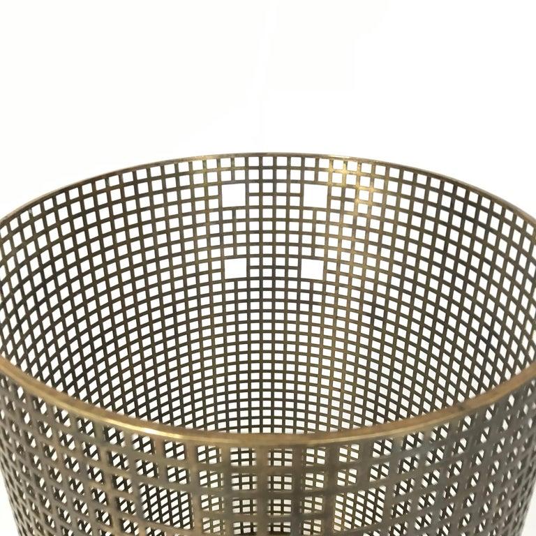 Austrian Josef Hoffmann Design Perforated Brass Umbrella Stand or Basket, 1950s, Austria For Sale