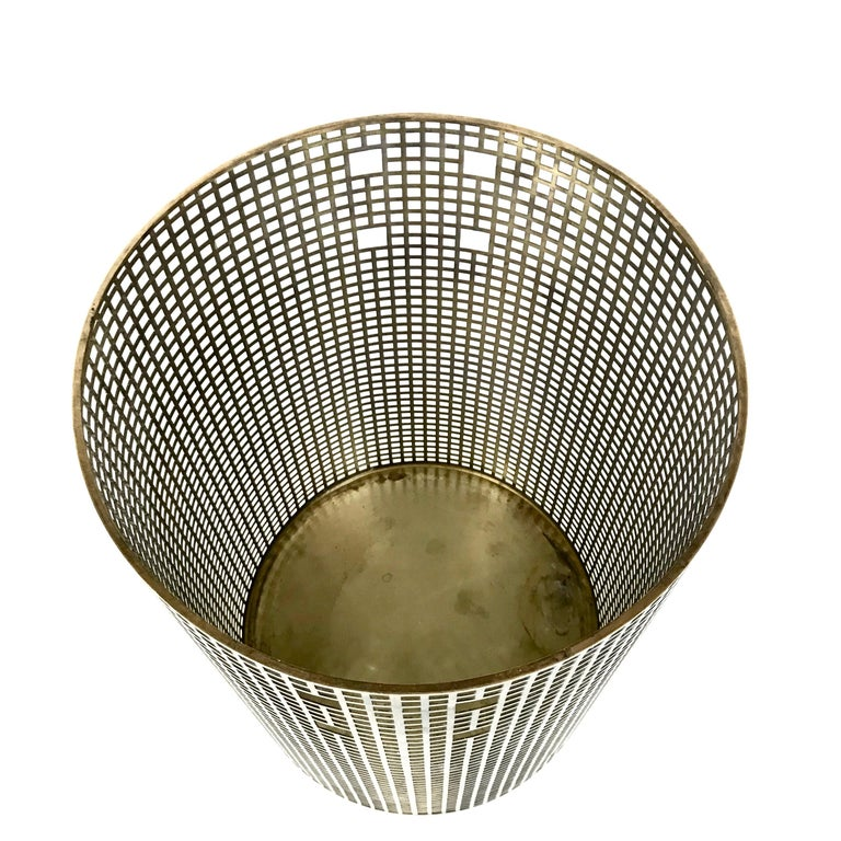 Lacquered Josef Hoffmann Design Perforated Brass Umbrella Stand or Basket, 1950s, Austria For Sale