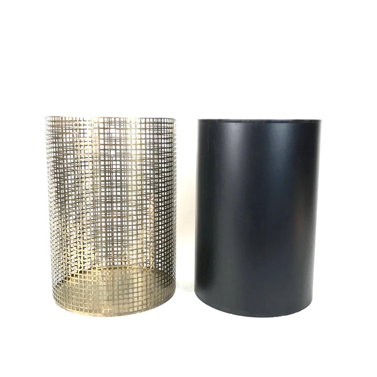 Josef Hoffmann Design Perforated Brass Umbrella Stand or Basket, 1950s, Austria In Good Condition For Sale In Vienna, AT