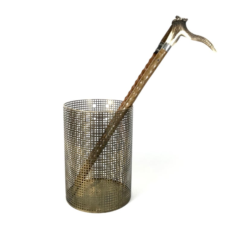 Mid-20th Century Josef Hoffmann Design Perforated Brass Umbrella Stand or Basket, 1950s, Austria For Sale