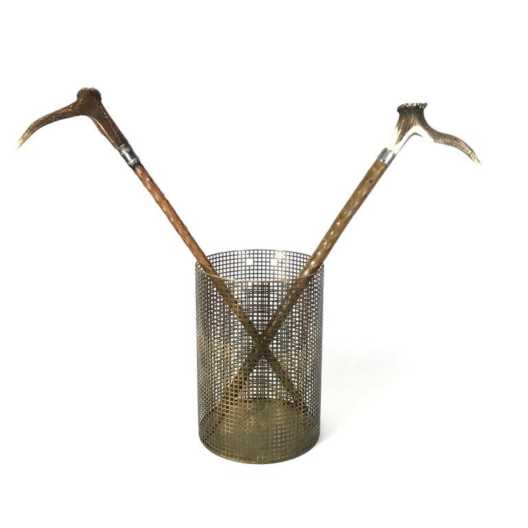 Metal Josef Hoffmann Design Perforated Brass Umbrella Stand or Basket, 1950s, Austria For Sale
