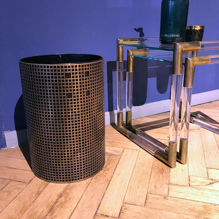 Josef Hoffmann Design Perforated Brass Umbrella Stand or Basket, 1950s, Austria For Sale 1