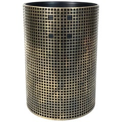Josef Hoffmann Design Perforated Brass Umbrella Stand or Basket, 1950s, Austria