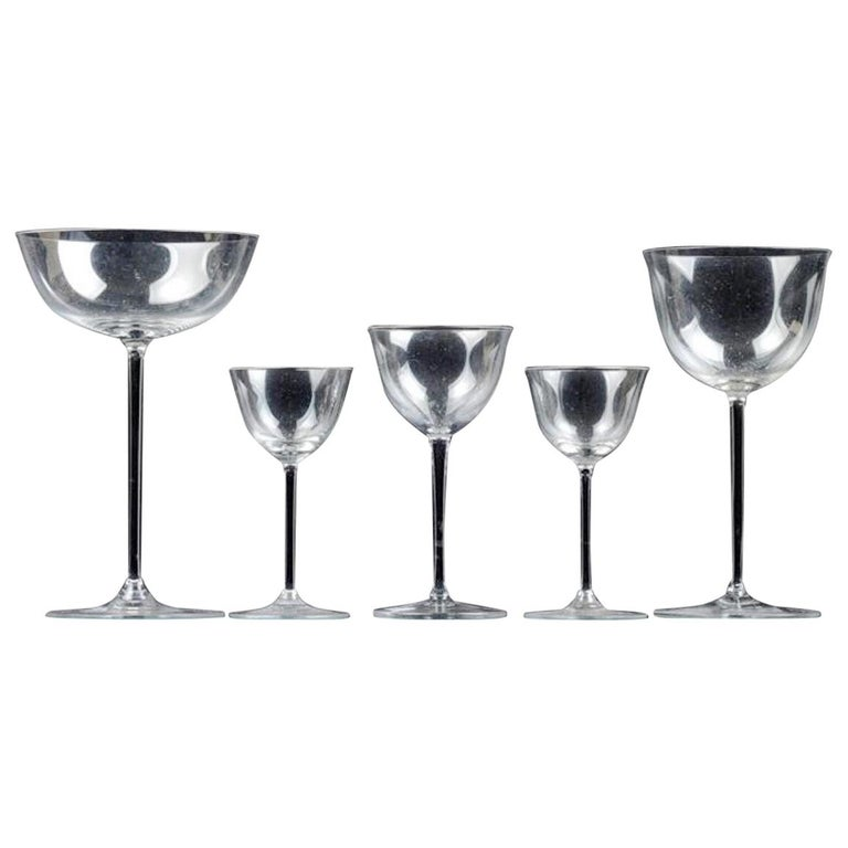 Josef Hoffmann Five Goblets Trinkservicecm, 1920, Design J & L Lobmeyr For Sale