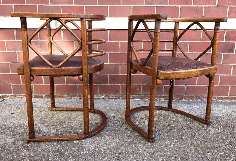 Austrian Josef Hoffmann Fledermaus Chairs for J & J Kohn For Sale