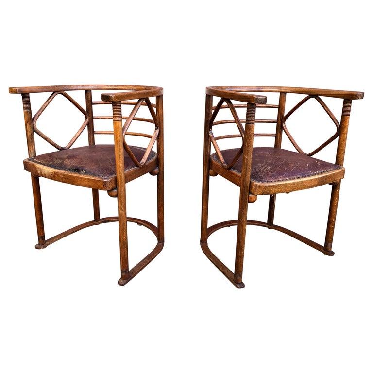Josef Hoffmann Fledermaus Chairs for J & J Kohn For Sale