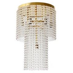 Josef Hoffmann Flush Mount Light Fixture, Brass Glass, Jugendstil