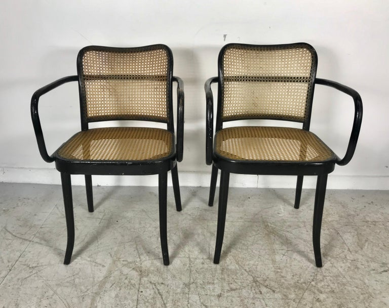 Josef Hoffmann for Stendig Bentwood Cane Dining Chairs, Set of Eight In Good Condition For Sale In Buffalo, NY