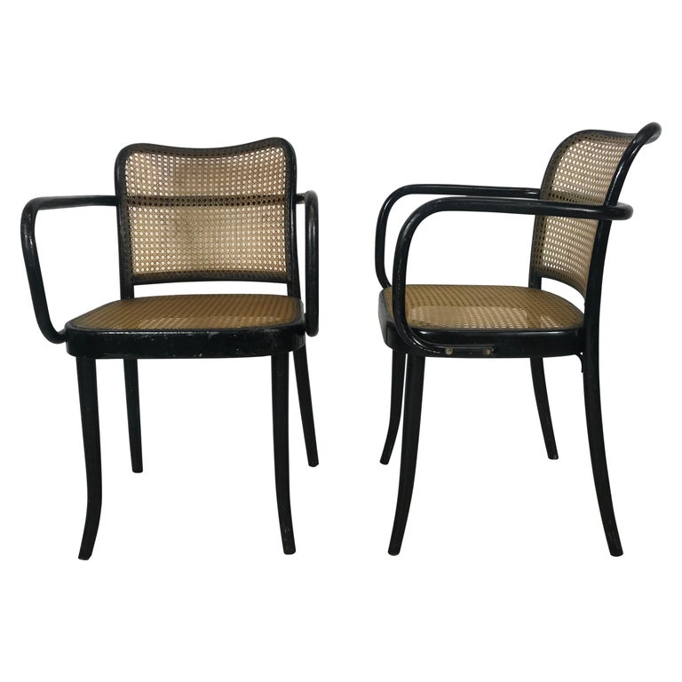 Josef Hoffmann for Stendig Bentwood Cane Dining Chairs, Set of Eight For Sale