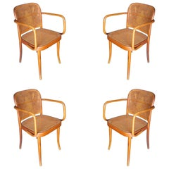 Josef Hoffmann for Stendig Bentwood Cane Dining Chairs, Set of Four