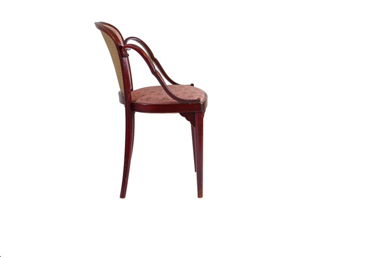 A very rare undocumented chair by Josef Hoffmann and J&J Kohn. An identical chair with leather upholstery is available as well.