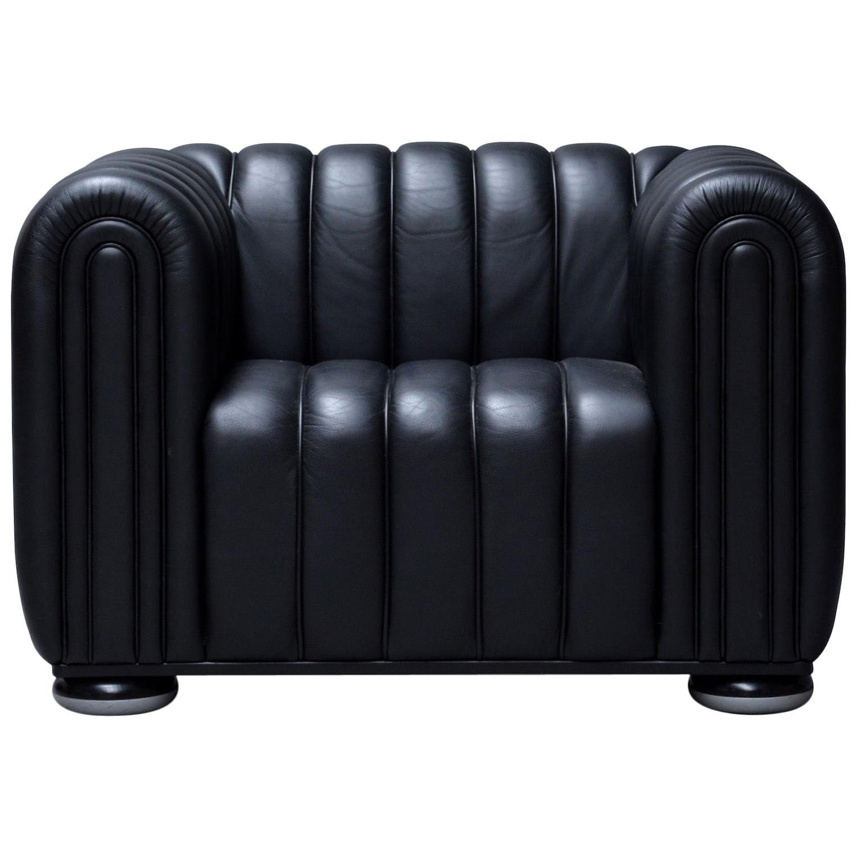Josef Hoffmann Lounge chair model 'Club1910' for Wittmann Black Leather Armchair