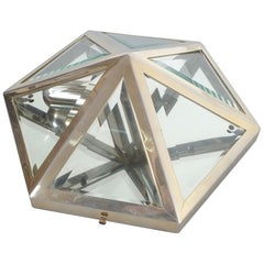 Josef Hoffmann Style Brass and Glass Pyramid Flush Mount Wall Lamp